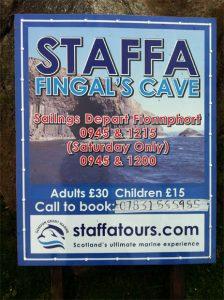 Cartel de la excursión a Staffa