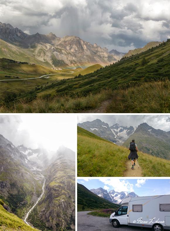 1) Col du Lautaret tras la tormenta - 2) Glaciar - 3) Ruta al glaciar - 4) Parking de pernocta