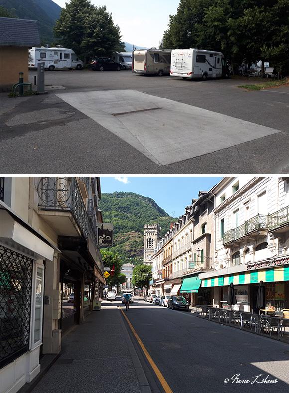 Área de autocaravanas de Bagnères de Luchon y pueblo