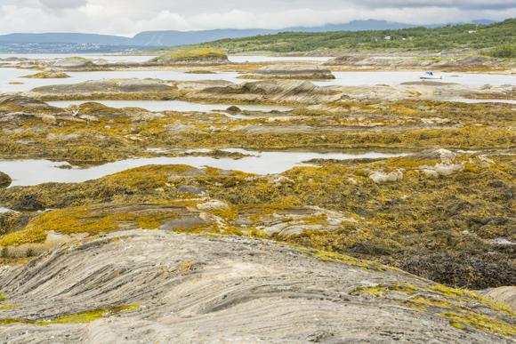Las rocas tienen unas estrías muy interesantes, costa de Salstraumen