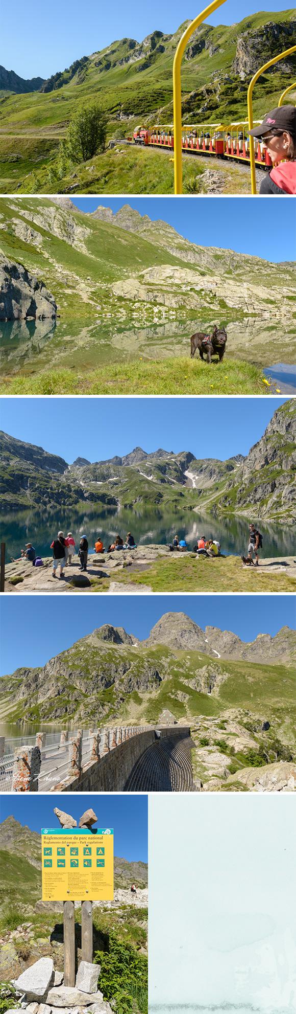 Petit Train d'Artouste, Lago Artouste, presa y el típico cartel de Parque Nacional