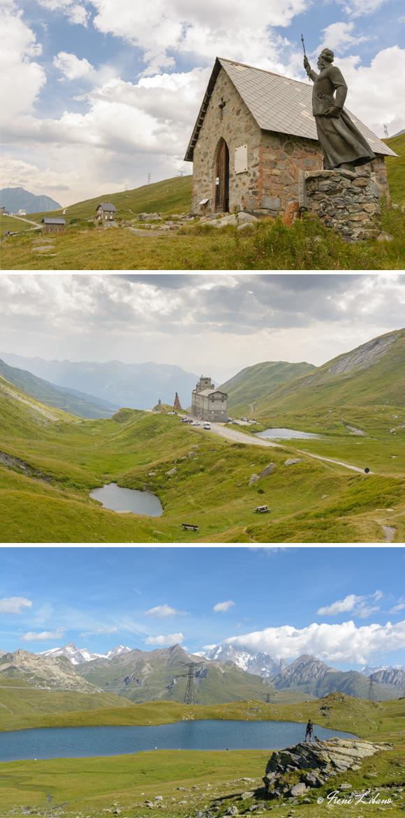 1) Ermita del Col du Petit Saint Bernard - 2) Hospicio - 3) Lac Longet