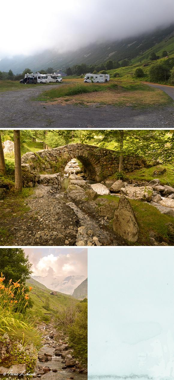 Parking de Heas, puente antiguo del pueblo y vistas del río que atraviesa el pueblo