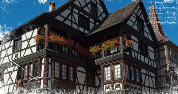 Casa títpica alsaciado con entramados de madera en Kaysersberg