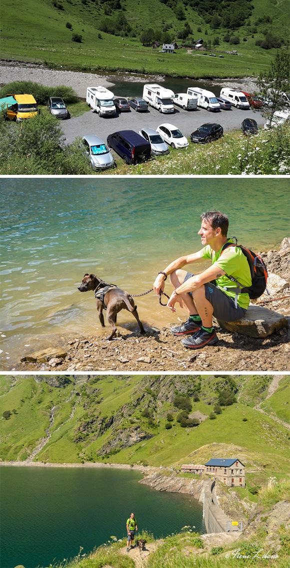 Parking junto al río, lago de Oô, presa y refugio