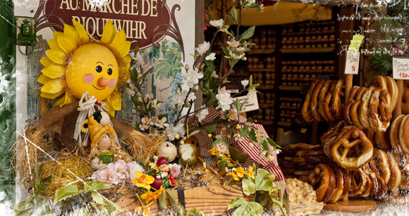 Típica tienda de productos de la región y lazos dulces en Riquewhir